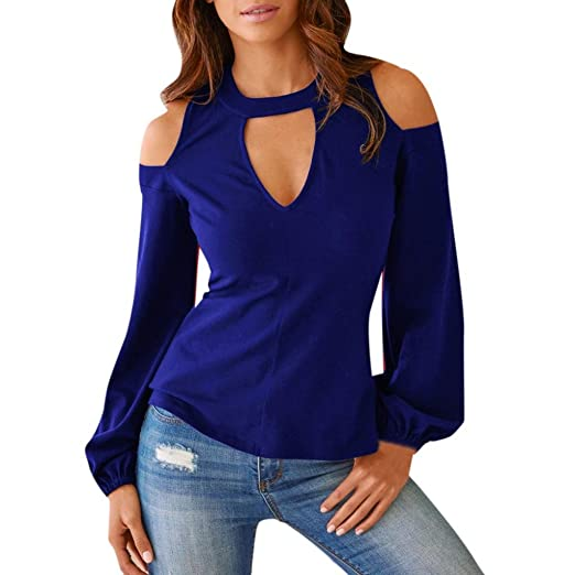 6d7bfa2eb Kangma Women Summer Cold Shoulder Long Sleeve Hollow Out Tops Shirt Blouse  Blue at Amazon Women's Clothing store:
