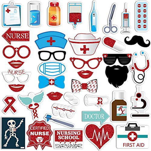42 Piece Nurse Graduation Photo Booth Props - Red Glitter Great Graduation Decorations For 2019 Doctor Nurse Graduation Theme Party Supplies]()