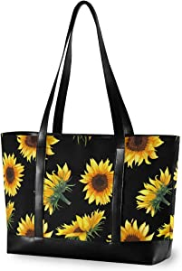 Large Woman Laptop Tote Bag - Sunflowers Black Background Canvas Shoulder Tote Bag Fit 15.6 Inch Computer Ladies Briefcase for Work School Hiking Trekking