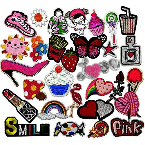 - Libiline 30pcs Assorted Styles Girl Pink Embroidered Patch Sew On Iron On Patches Appliques Clothes Dress Plant Hat Jeans Sewing Flowers Applique DIY Accessory (Assorted-Style 3)