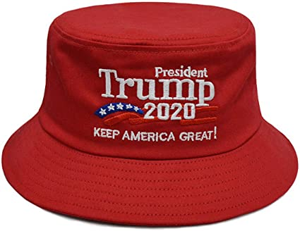 DISHIXIAO Trump Bucket Hat USA American Flag Trump 2020 Keep America Great Embroidered Bucket Cap