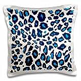 3D Rose Blue Snow Leopard White Cheetah Spots-Stylish Fur Pattern-Trendy Fun Animal Print Design Pillowcase, 16'' x 16''