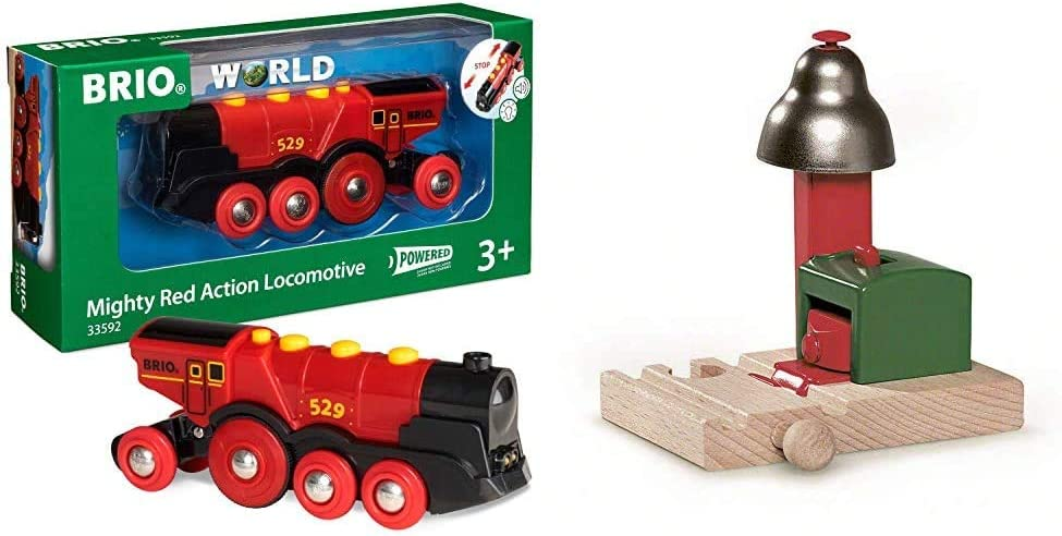 BRIO World 33592 Mighty Red Action Locomotive | Battery Operated Toy Train with Light and Sound Effects & World - 33754 Magnetic Bell Signal | Accessory for Toy Train Sets for Kids Ages 3 and Up