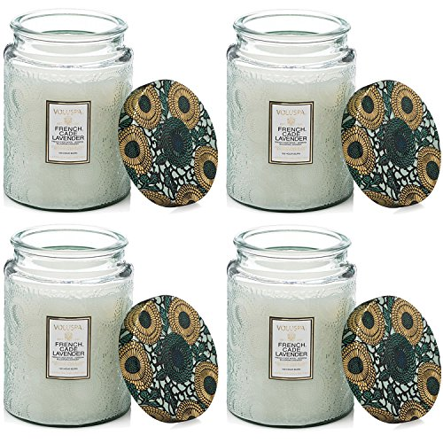 Voluspa French Cade Lavendar Large Embossed Glass Jar Candle ( 4 pk) by Voluspa