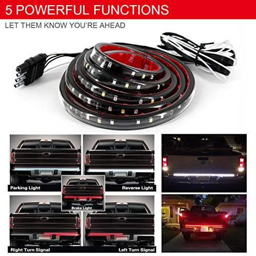 Carrep Universal Truck Tailgate Strip Light Side Bed Light Strips 5 Function Waterproof Turn Signal, Parking, Reverse,Brake Lights (47 - Light Tail Headlight Flashers