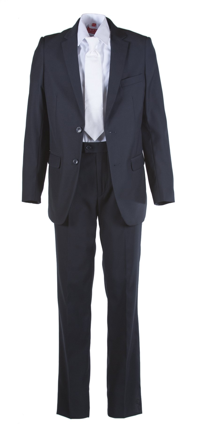 Boys Slim Fit Navy Blue Communion Suit with Suspenders & Paisley Tie (8 Boys)