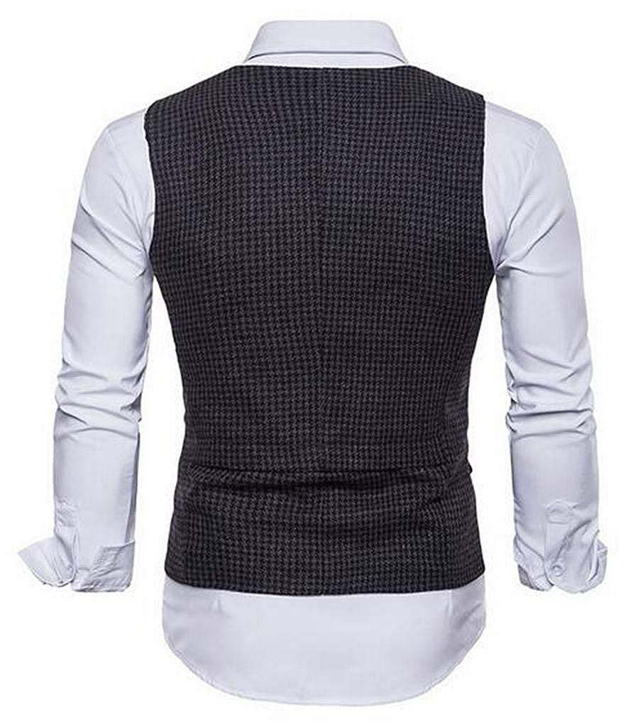 MMCP Mens Slim Fit Single Breasted Houndstooth Business Dress Suit Vests Waistcoats