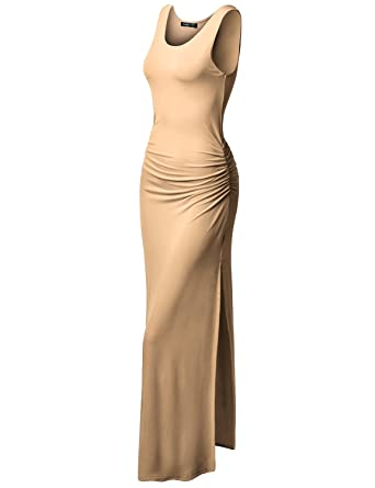 c6eb83e3d44a6 TWINTH Casual Sleeveless Side Shirring Waist Long Dress with Pluse Size  Beige S