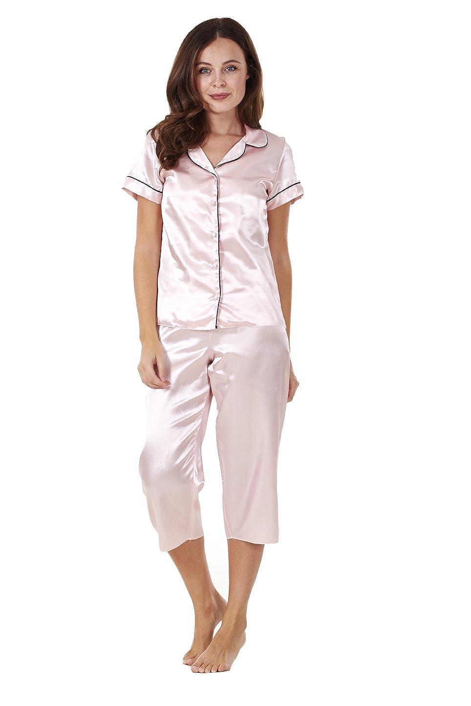 Conjunto de pijama para mujer - Manga corta - Pantalón de estilo pirata - Satinado - Rosa - EU 50: Amazon.es: Ropa y accesorios