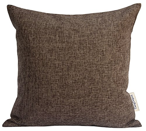 Pillow Chocolate Throw (TangDepot Heavy Lined Linen Cushion Cover, Throw Pillow Cover, Square Decorative Pillow Covers, Indoor/Outdoor Pillows Shells - (22