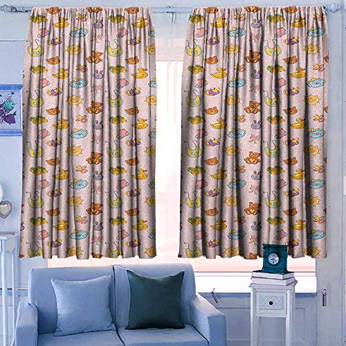 """Lovii Pattern Curtains 42"""" W x 54"""" L Rod Pocket Curtain Panels for Bedroom & Kitchen Baby Infant Toys Teddy Bears Rubber Ducks Pacifiers with Shoes and Socks Doodle Background Multicolor"""