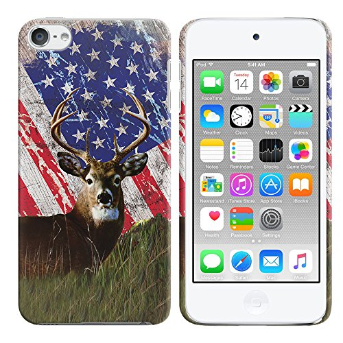 Apple iPod Touch 5 (5th Generation) iPod Touch 6 (6th Generation) Case, FINCIBO Back Cover Hard Plastic Protector Case Stylish Design Vintage American USA Flag Deer