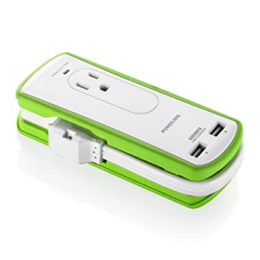 Poweradd 2-Outlet Mini Portable Travel Surge Protector with Dual 3.4A Smart USB Ports, Wrapped Cord Design - UL Listed