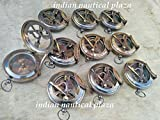 Lot of 10 Solid Brass Sundial Compas Pocket Compass Nautical Decor Maritime Gift A