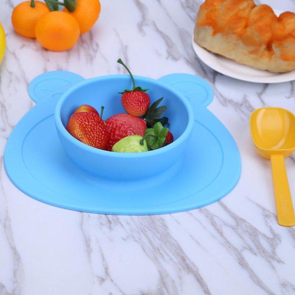 BESTONZON Kinderteller Silikon Baby Teller mit Saugnapf Tischsets Blau