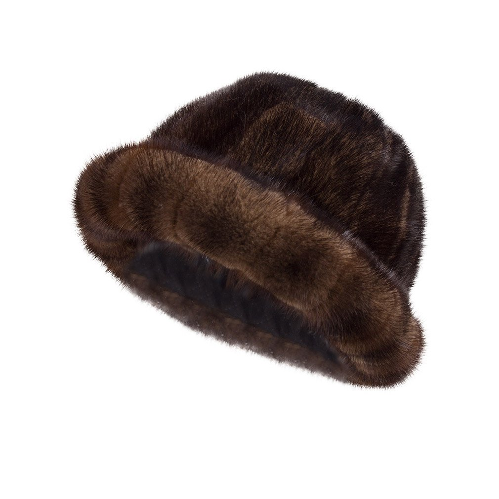 Fur Story Women's Fur Bucket Hat With Real Mink Fur Thick Stripes Hats (Brown)