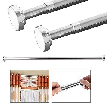 Barra de tensión para cortina de ducha, de acero inoxidable, ajustable, barra de cortina de ducha de 42~101 pulgadas, barra de cortina telescópica