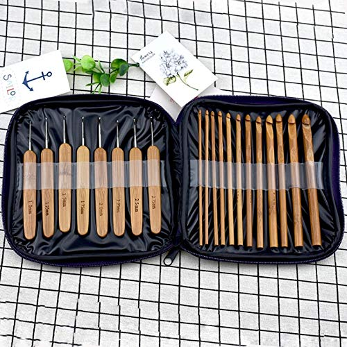 Set Bamboo - 20pcs Set Bamboo Crochet Hooks Needles Knit Weave Craft Yarn Sewing Knitting Hook Set With Case - Spoon Piece Charcoal Fluoride Board Serving 5pc Utensils Towel Needles