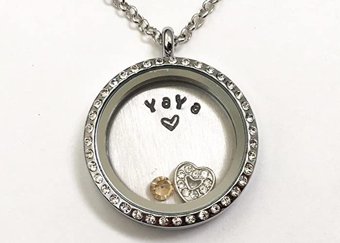 7c9844ca3 YAYA Necklace - Mother's Day Gift - Gift for Yaya, Grandma, Grandmother,  Nana - Custom Birthstone Necklace - Hand Stamped Jewelry - Stainless Steel  and ...
