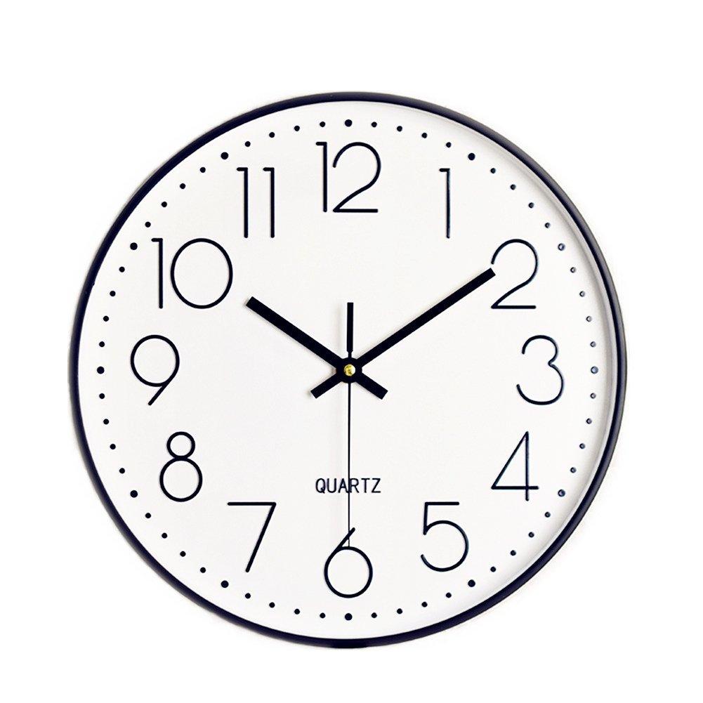 Foxtop 12 inch Large Modern Non Ticking Silent Quartz Decorative Wall Clock (Black)