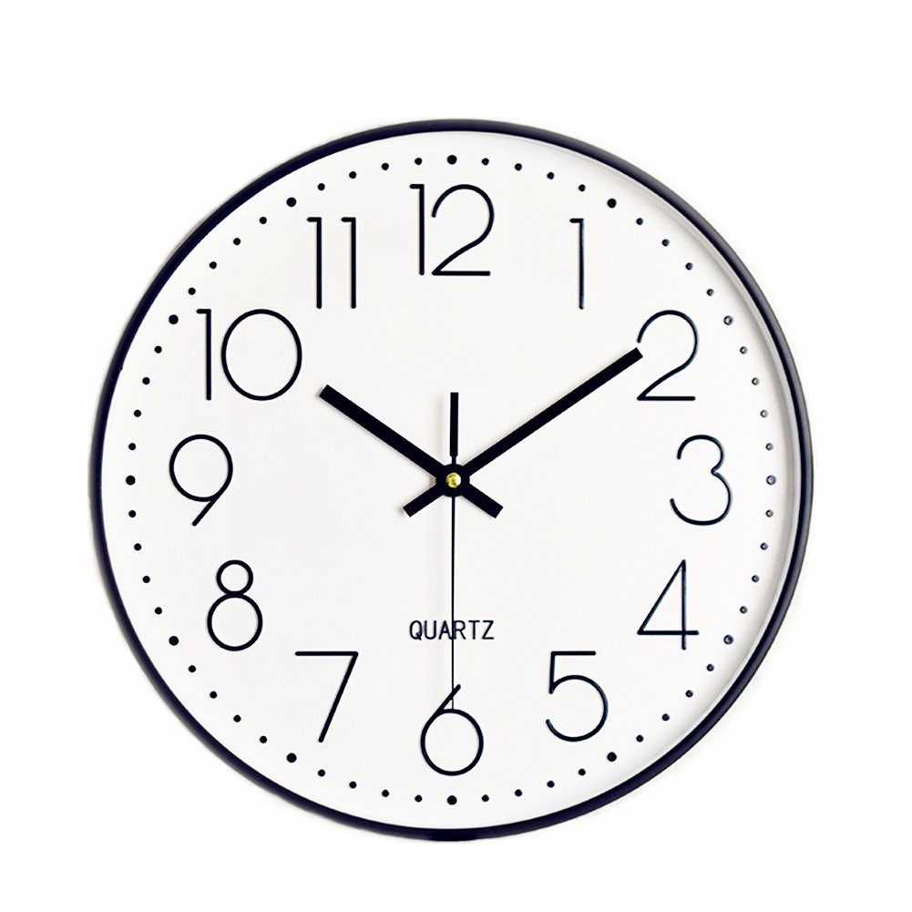Foxtop 12 inch Silent Non-ticking Wall Clock Battery Operated Decorative Wall Clock Easy to Read for Office Home School (Black Frame, White Dial, Arabic Numeral)