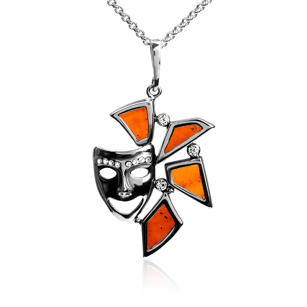 Amber Sterling Silver Theatrical Mask Pendant Necklace Chain 18