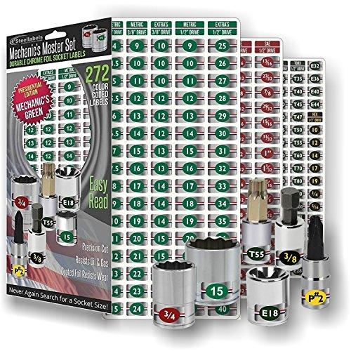 Mechanics Master Set - 272 Chrome Foil Socket Labels for all Metric & SAE sockets plus Torx, E-Torx, Hex Drives and Screw Drives