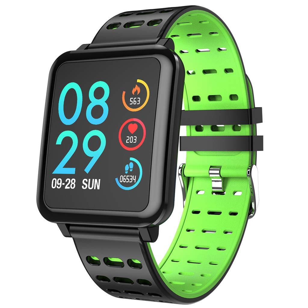 FEDULK Smart Watch Sports Fitness Workout Tracker Heart Rate Blood Pressure Monitoring Bluetooth 4.0 Smartwatch(Green) by FEDULK