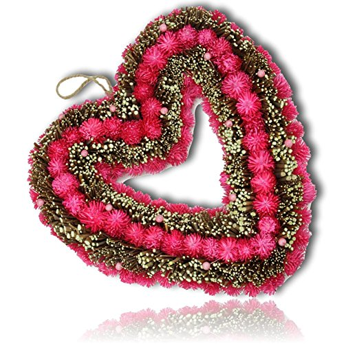 """Custom & Unique (13.5"""" Inches) 1 Single Mid-Size Decorative Holiday Wreath for Door, Made of Resin w/ Artificial Festive Valentines Day Heart Shaped Berry Floral Woven Twig Style (Red, Pink, & Brown) Heart Shaped Berry Wreath"""