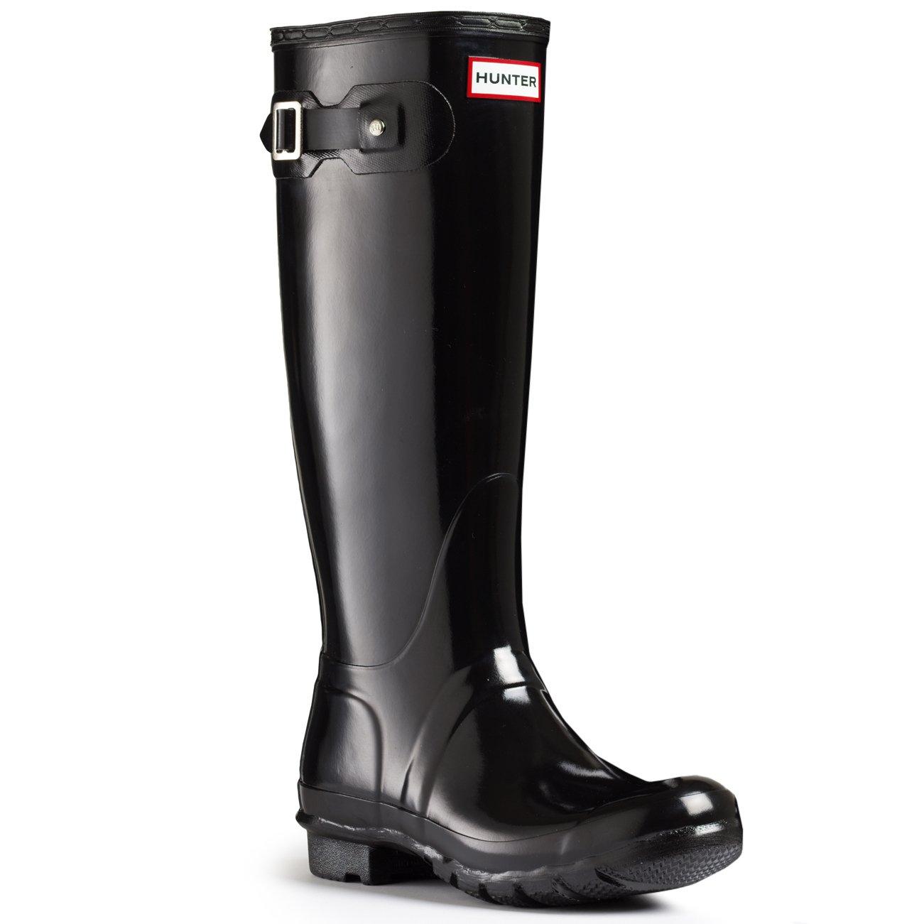 Hunter Women's Original Tall Rain Boot,Black Gloss,9 B(M) US