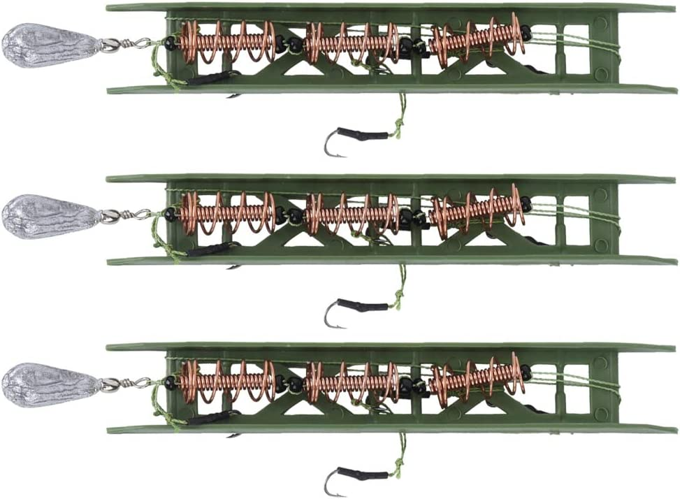 3Pcs 15g//0.5oz Fishing Feeder Bait Cage Spring Holder+Lead Sinker for Fish Carp