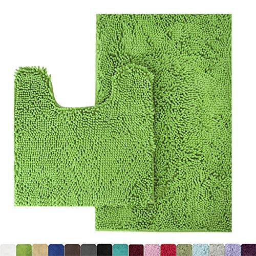 MAYSHINE Bathroom Rug Toilet Sets and Shaggy Non Slip Machine Washable Soft Microfiber Bath Contour Mat (Green, 32x20 / 20x20 Inches U-Shaped) (Green Bamboo Rug)
