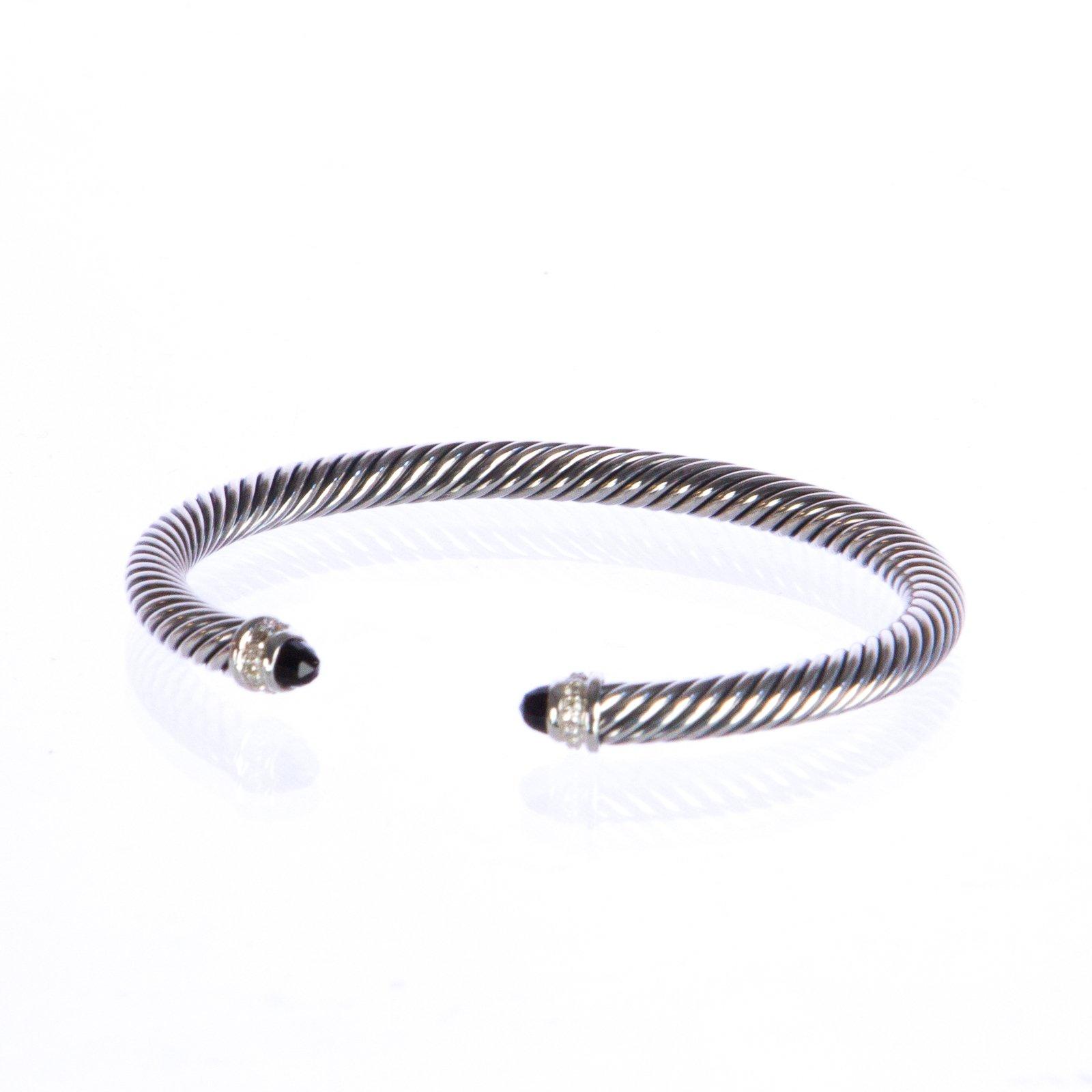 DAVID YURMAN Sterling Silver Cable Classics Bracelet 5mm (Black Onyx)