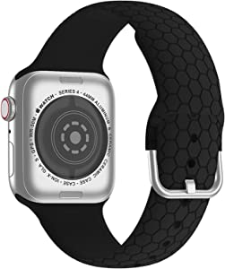 Bandiction Silicone Sport Band Compatible with Apple Watch Bands 38mm 40mm 42mm 44mm, Soft Watch Strap Women Men for iWatch Bands Accessories Compatible for Apple Watch SE Series 6/5/4/3/2/1, Black