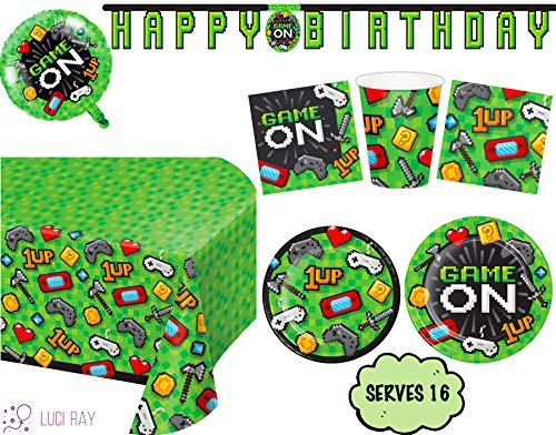 Luci Ray Video Game Party Supplies Tableware Decorations (Set of 16) Includes Balloon, Plates, Napkins, Cups, Banner and Table Cover. Video Games Decor Kit