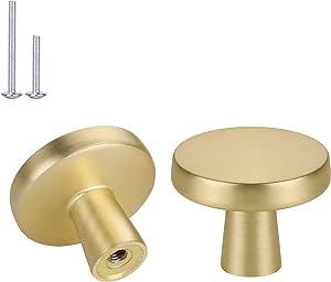 Haliwu 10 Pack/Gold Knobs for Dresser, Brass Cabinet Knobs Brushed Gold Knobs Drawer Knobs Gold Round Kitchen Hardware Knob