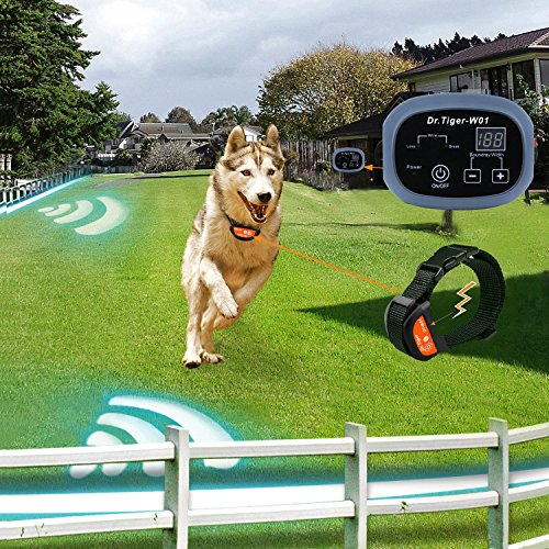 Dr.Tiger 2 Receiver Electric Dog Fence with Rechargeable Shock Collar, Wire In-Ground Invisible Dog or Cat Containment Fence System W1-G4