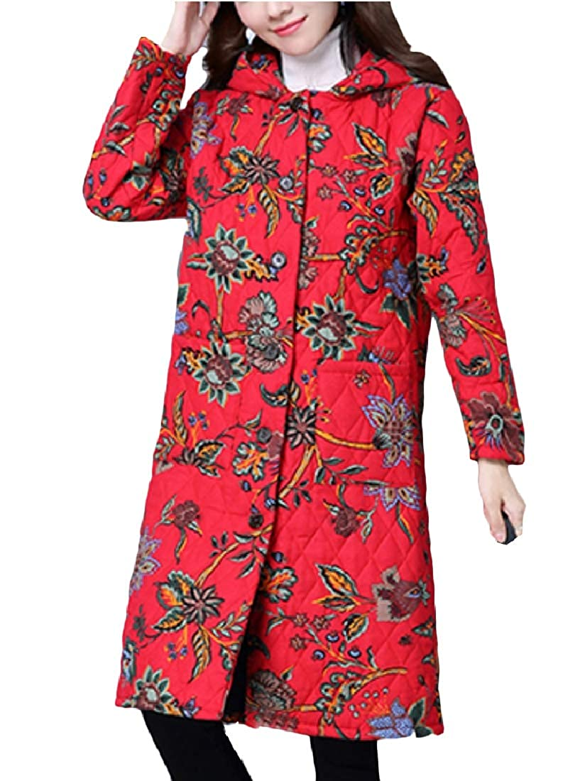YUNY Women Cotton Big Pockets Hoodie Ethnic Style Padded Outwear Red L