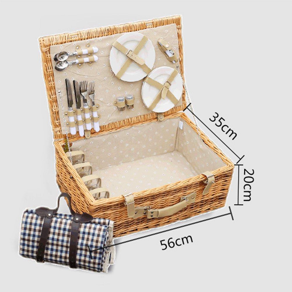 HM&DX Wicker picknick korb-set korb-set korb-set für 4 mit decke familie picknickkorb markt mittagessen tote für camping wandern ausflug-A 563520cm B07DMC3V74 Krbe & Koffer Viele Stile 749348