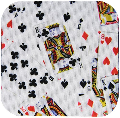 (3dRose CST_112896_1 Scattered Playing Cards Photo-for Card Game Players Eg Poker Bridge Games Casino Las Vegas Night-Soft Coasters, Set of)
