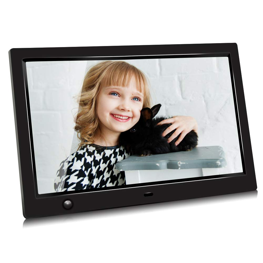 10 inch IPS Screen Digital Photo Frame, Digital Picture Frame with Motion Sensor, Timing Power On/Off, Support 1080P HD Video Player, Background Music, MP3, Calendar, USB Drive, SD Card [Jimwey] by Jimwey