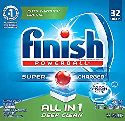 Finish All In 1 Powerball, Fresh 32 Tabs, Dishwasher Detergent Tablets