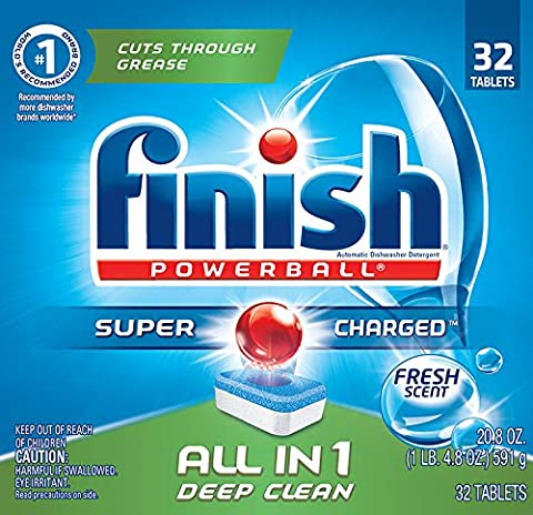 Finish Powerball Tabs Dishwasher Detergent Tablets, Fresh Scent, 32 ct (Platinum No 1)
