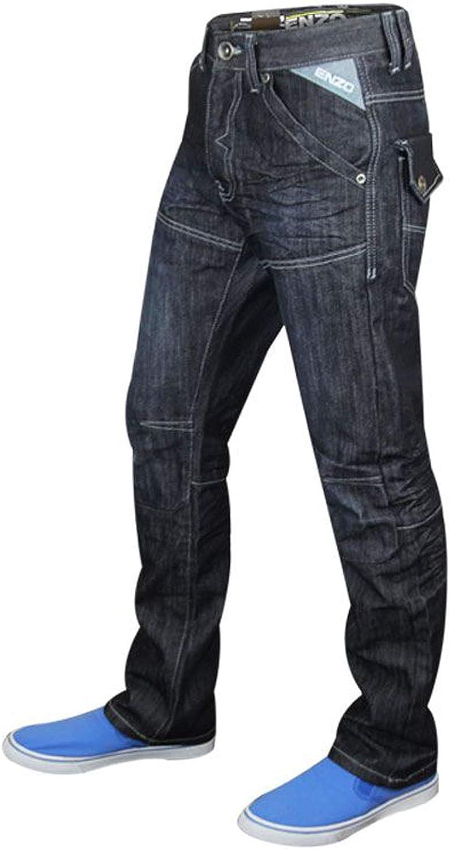 Enzo Men Designer Regular Fit Straight Leg Denim Jeans Waist Size 28 to 48