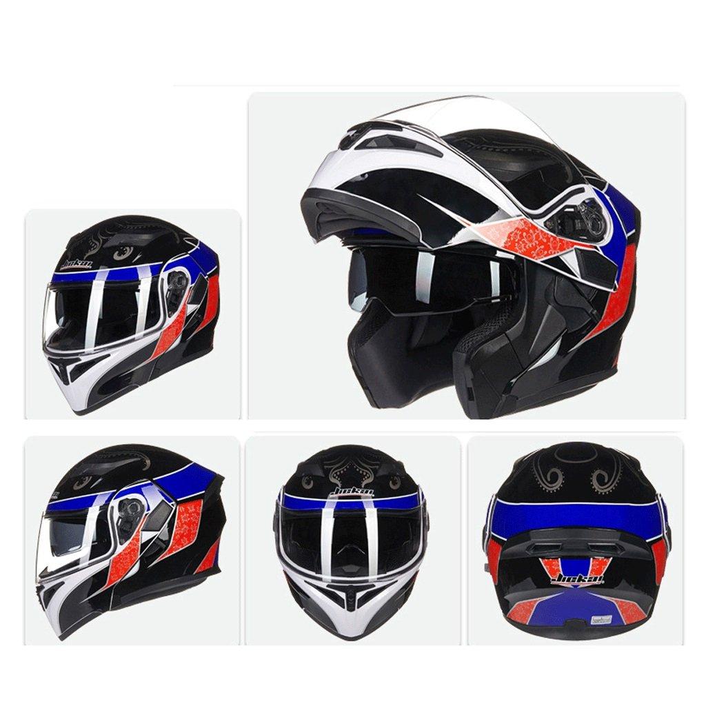 DGF ヘルメットダブルレンズオープンフェイスヘルメットオートバイ機関車トラムプロフェッショナルレーシングスポーツライト快適な多色オプションの男性と女性 (色 : D, サイズ さいず : M) B07FNQ62F9 Medium|D D Medium