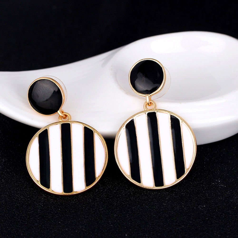 Siam panva Women Black and White Stripes Round Pendant Dangle Stud Earrings Gift up-to-date
