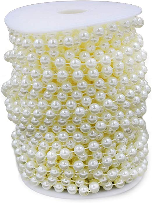 22 yards Ivory KUPOO 22 Yards 10 mm Large Ivory Pearls Faux Crystal Beads by the Roll for Wedding Party Decoration