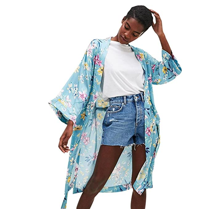Koly Moda Mujeres de Boho Largo Kimono Cardigan Feitong Bohemia para Mujer  Tassel Floral Chalecos Largos 73e2bd073229