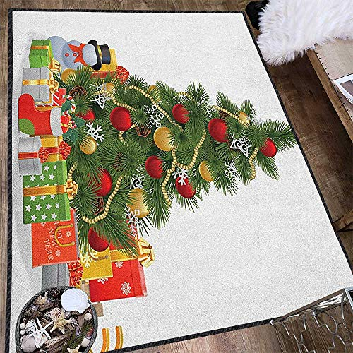 Christmas Super Soft & Cozy Rugs,Xmas Tree with Vivid Balls and Snowflakes New Year Celebration Theme Art Non Slip Absorbent Super Cozy Red Green Yellow 71