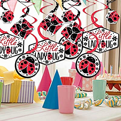 Happy Little Ladybug - Baby Shower or Birthday Party Hanging Decor - Party Decoration Swirls - Set of 40: Toys & Games